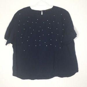 NWOT Zara Basic Pearl Top